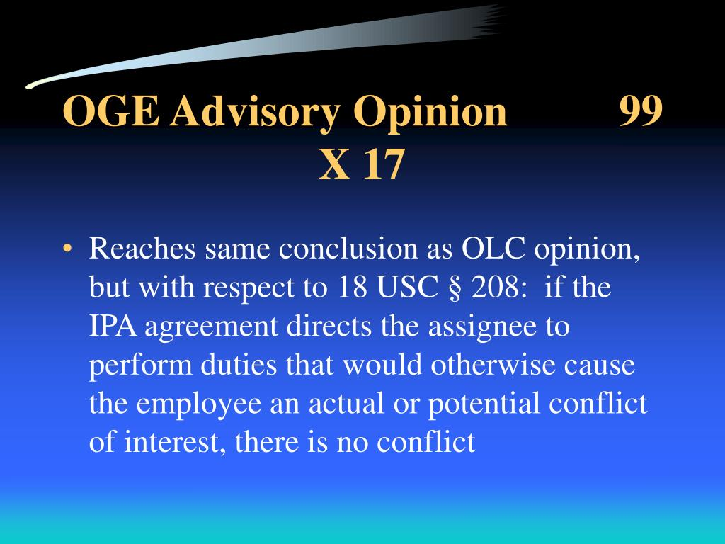 OGE Advisory Opinion          99 X 17