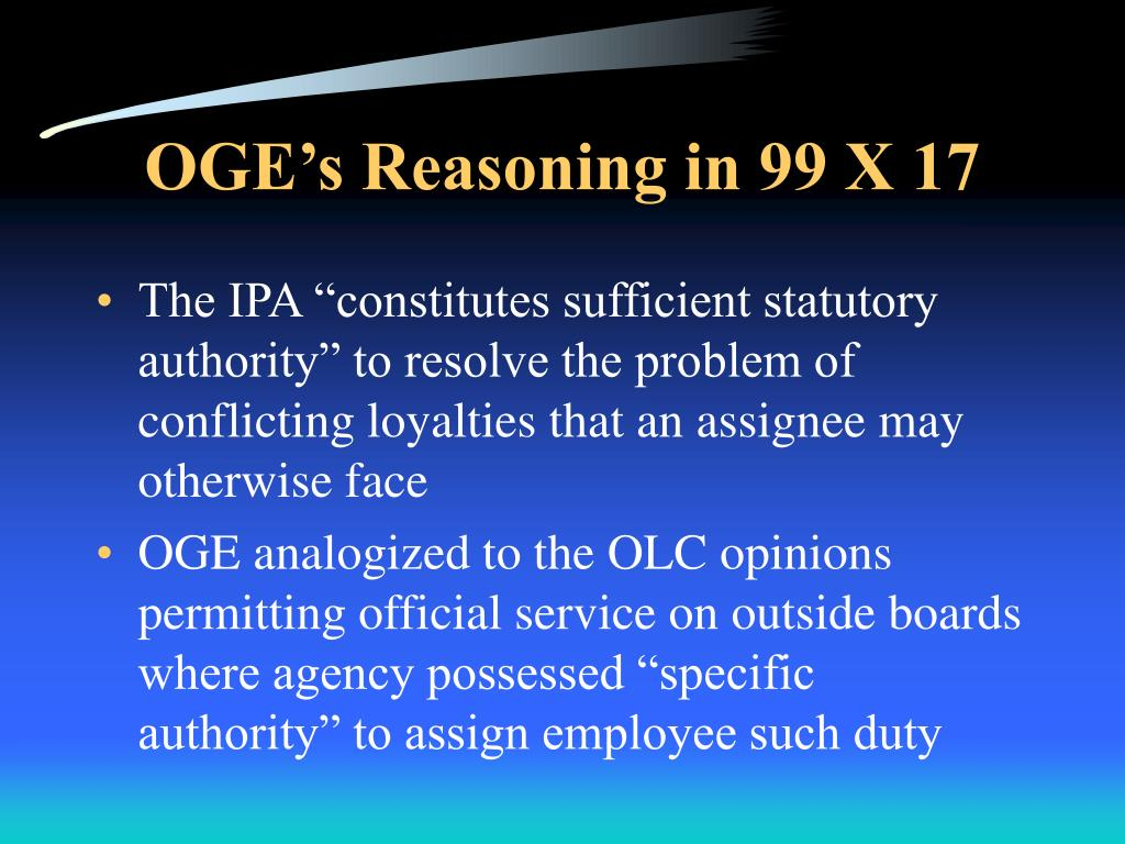 OGE's Reasoning in 99 X 17