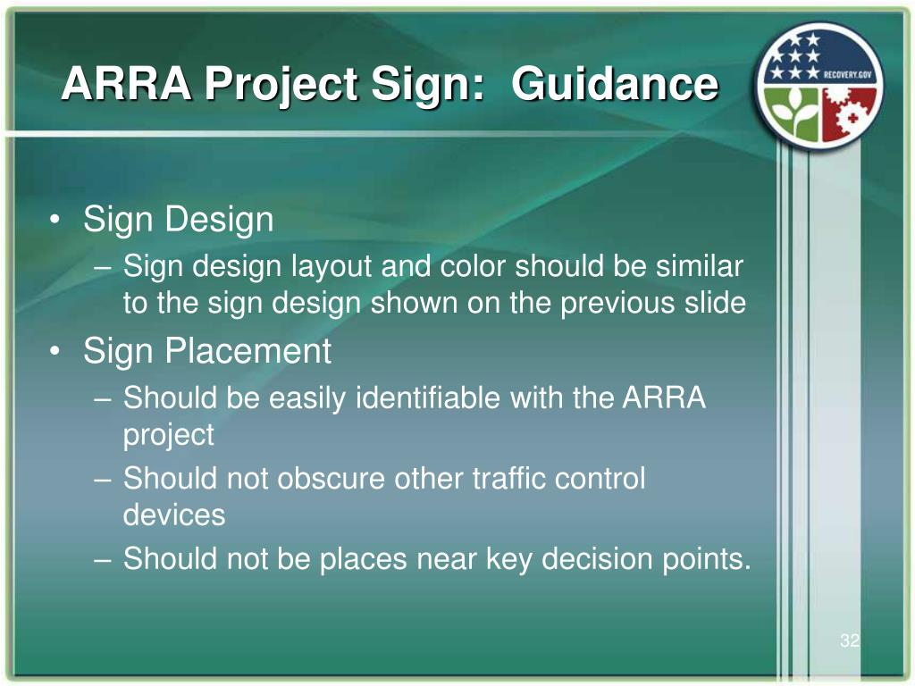ARRA Project Sign:  Guidance
