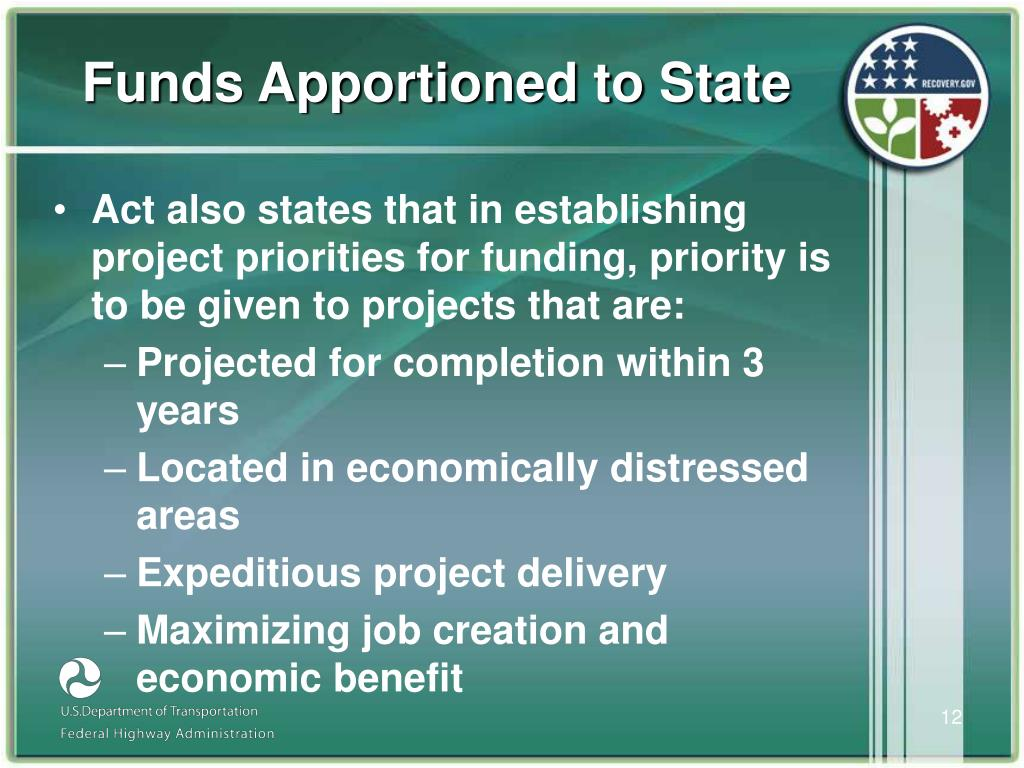 Funds Apportioned to State