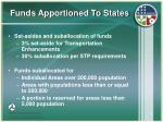 funds apportioned to states9