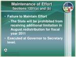 maintenance of effort sections 1201 a and b15