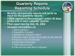 quarterly reports reporting schedule