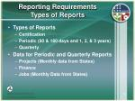reporting requirements types of reports