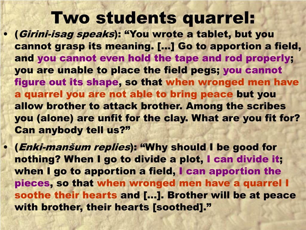 Two students quarrel: