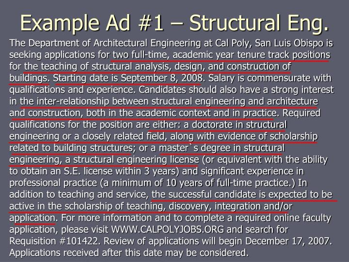 Example Ad #1 – Structural Eng.