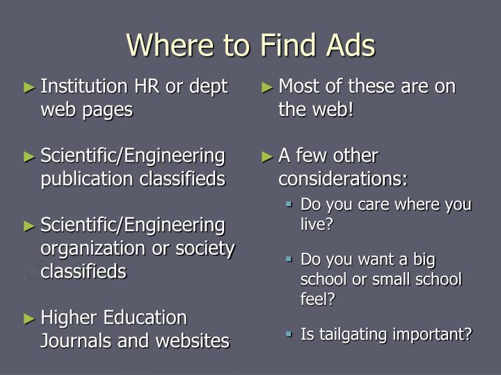 Institution HR or dept web pages