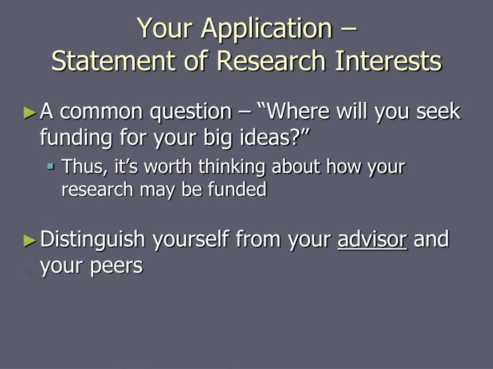 Your Application –