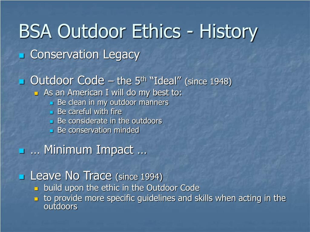 BSA Outdoor Ethics - History