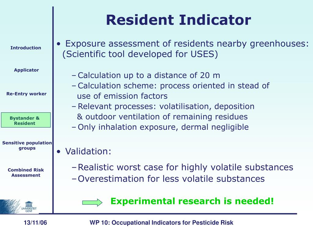 Exposure assessment of residents nearby greenhouses: