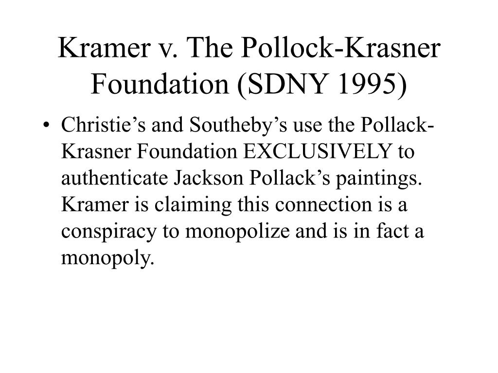 Kramer v. The Pollock-Krasner Foundation (SDNY 1995)