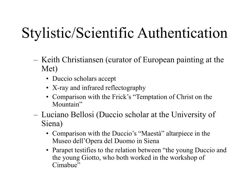 Stylistic/Scientific Authentication