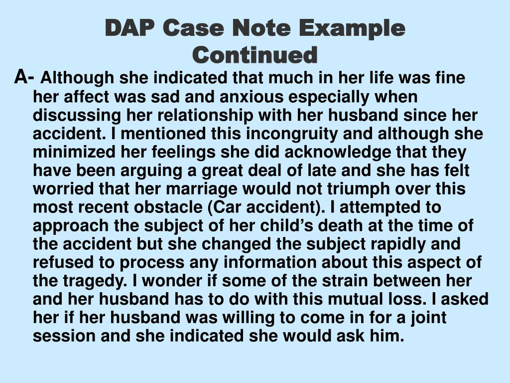 DAP Case Note Example Continued
