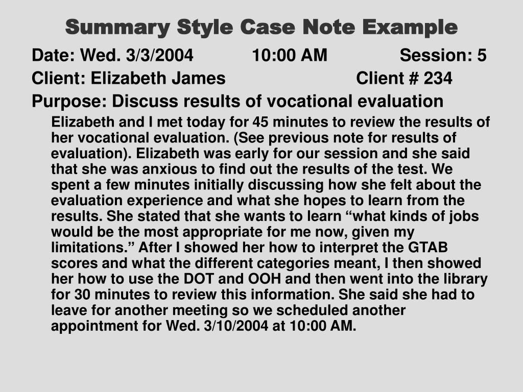 Summary Style Case Note Example