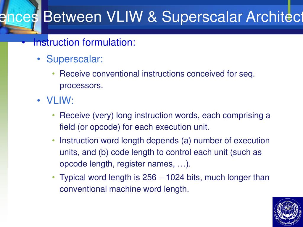 Differences Between VLIW & Superscalar Architecture (II)