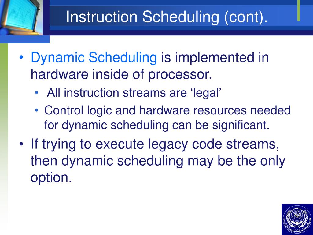 Instruction Scheduling (cont).