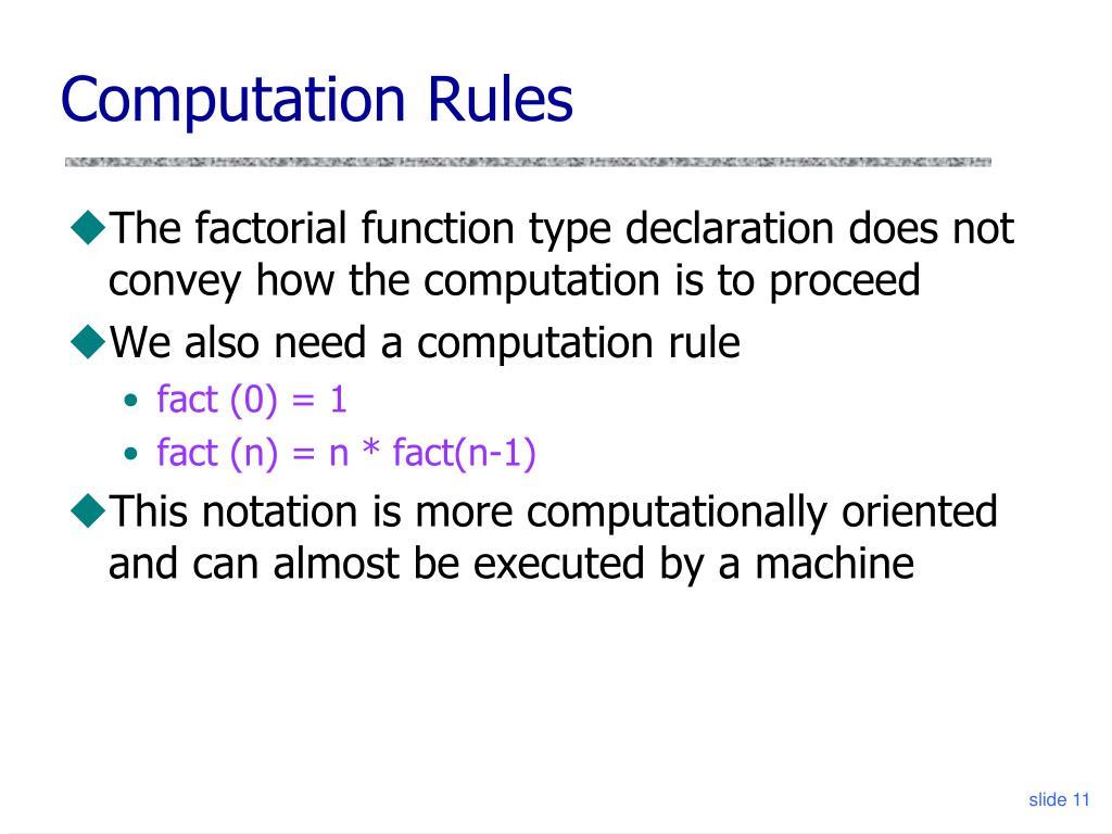 Computation Rules