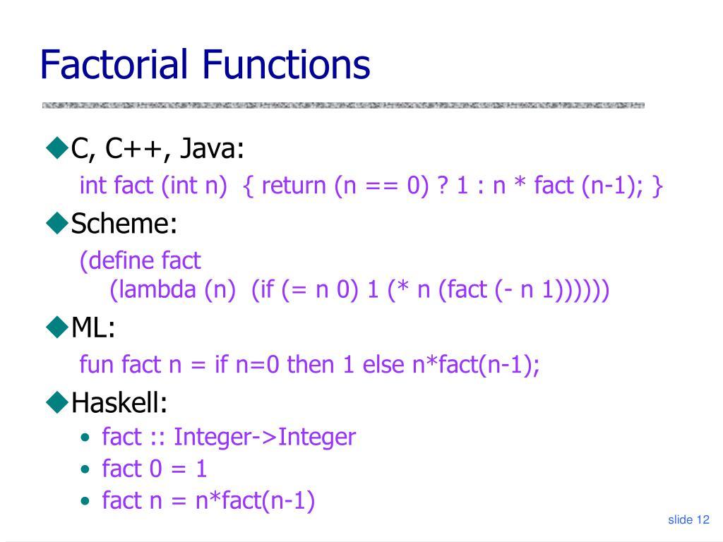 Factorial Functions