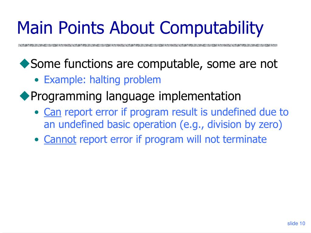 Main Points About Computability