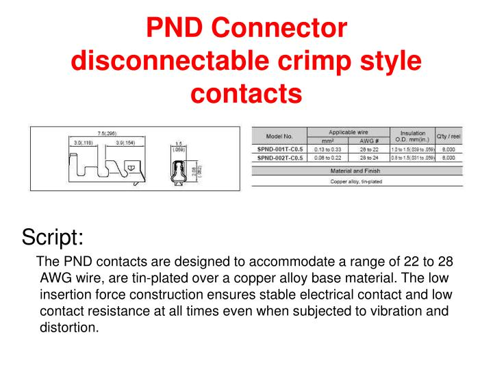 Pnd connector disconnectable crimp style contacts