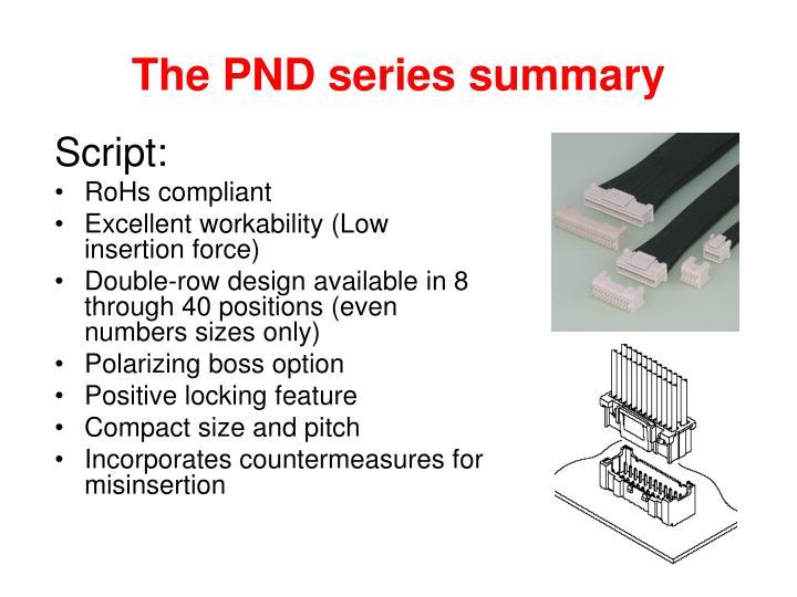 The PND series summary