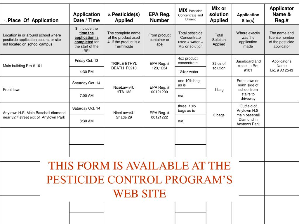 THIS FORM IS AVAILABLE AT THE PESTICIDE CONTROL PROGRAM'S WEB SITE