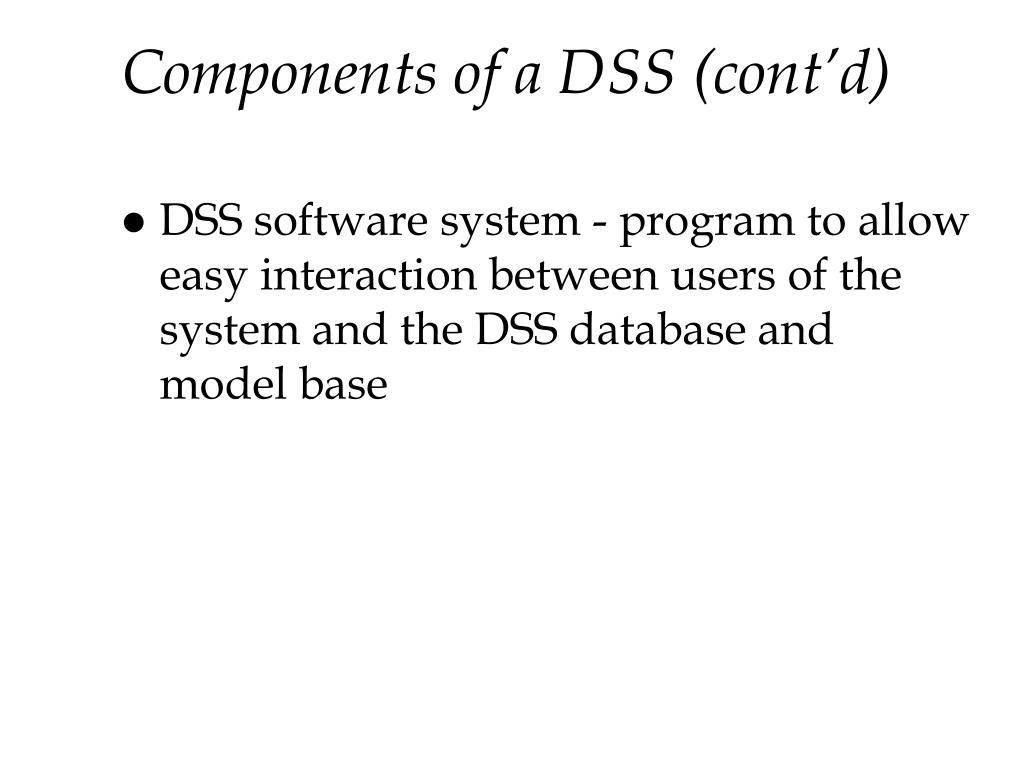 Components of a DSS (cont'd)