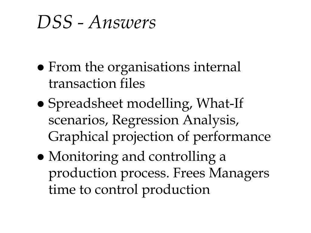 DSS - Answers