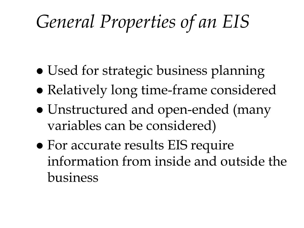 General Properties of an EIS