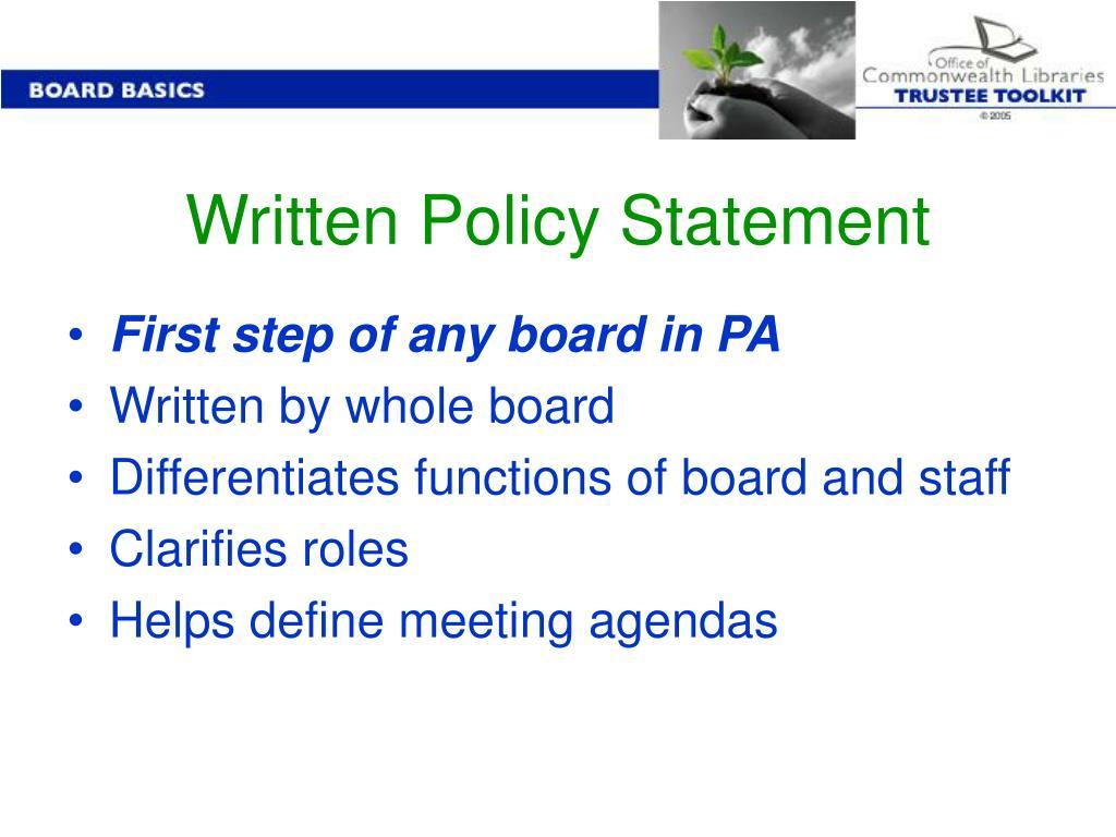 Written Policy Statement