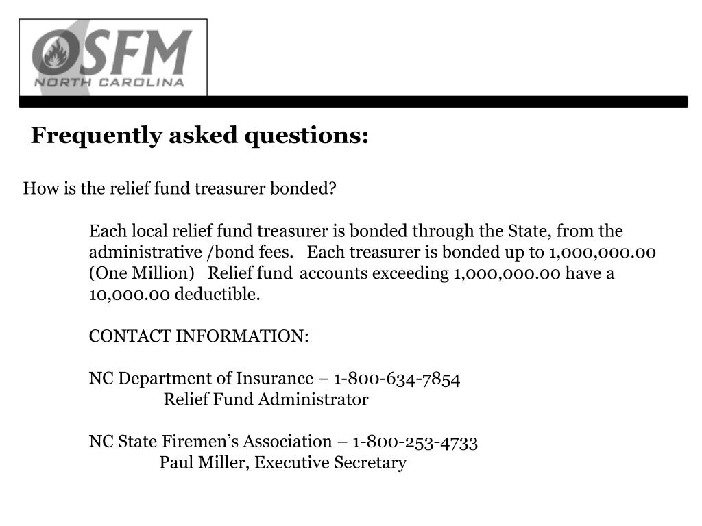 How is the relief fund treasurer bonded?