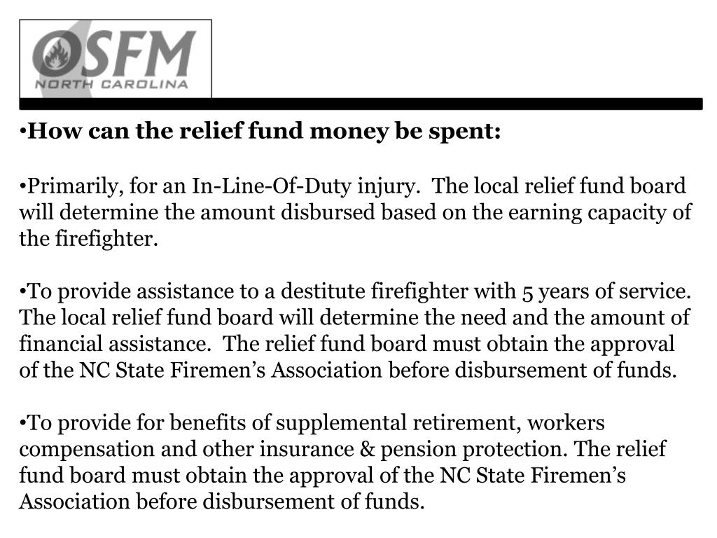 How can the relief fund money be spent: