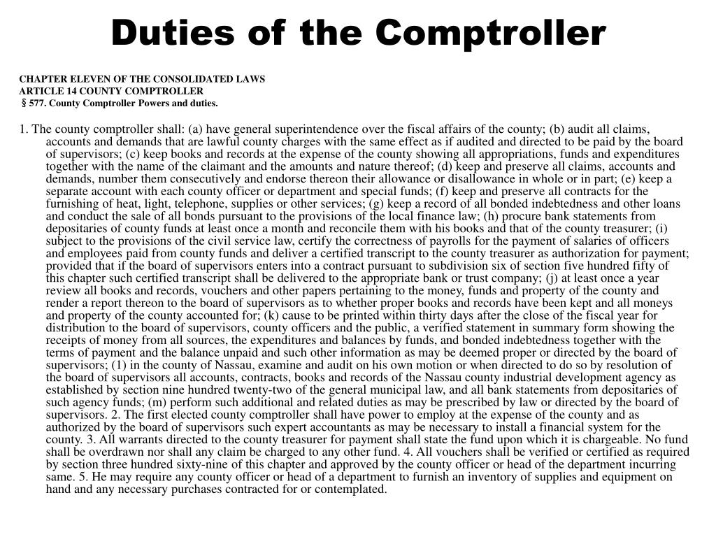 Duties of the Comptroller