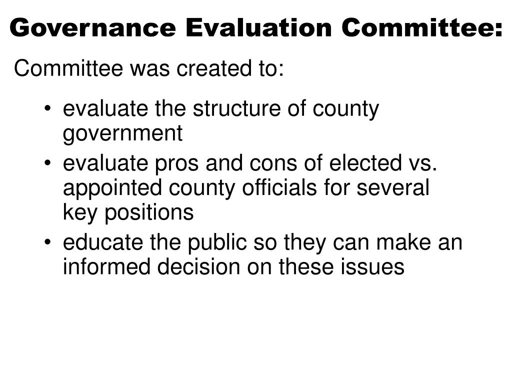 Governance Evaluation Committee: