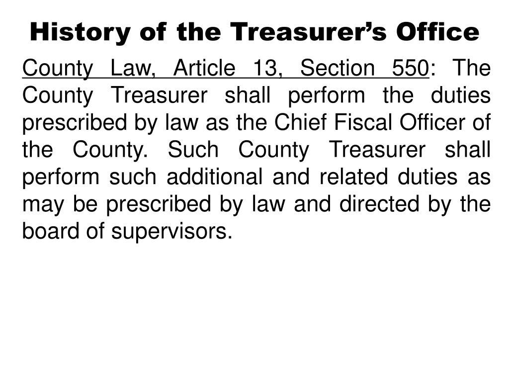 History of the Treasurer's Office