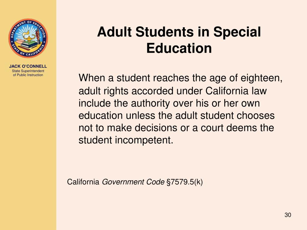 Adult Students in Special Education