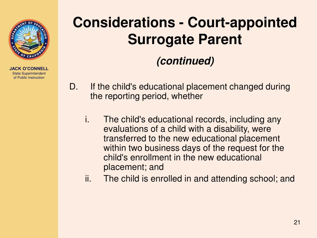 Considerations - Court-appointed Surrogate Parent