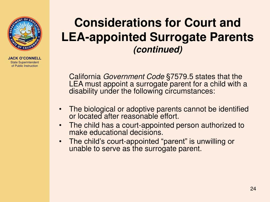 Considerations for Court and LEA-appointed Surrogate Parents