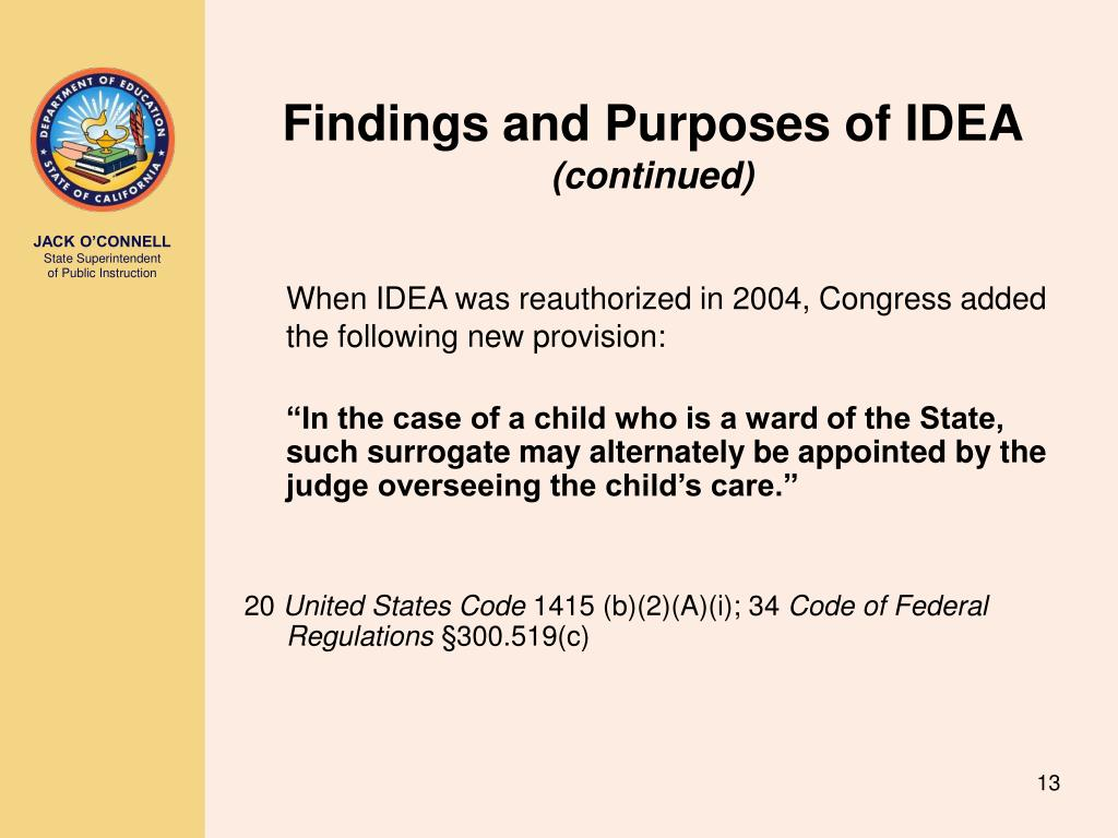 Findings and Purposes of IDEA
