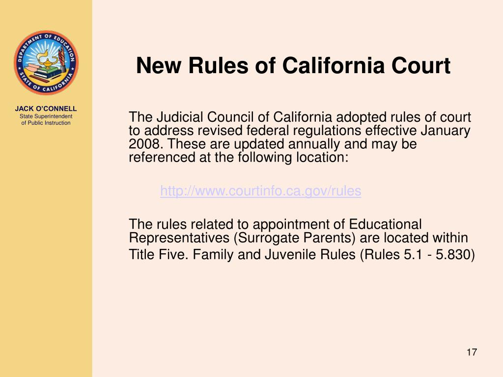 New Rules of California Court