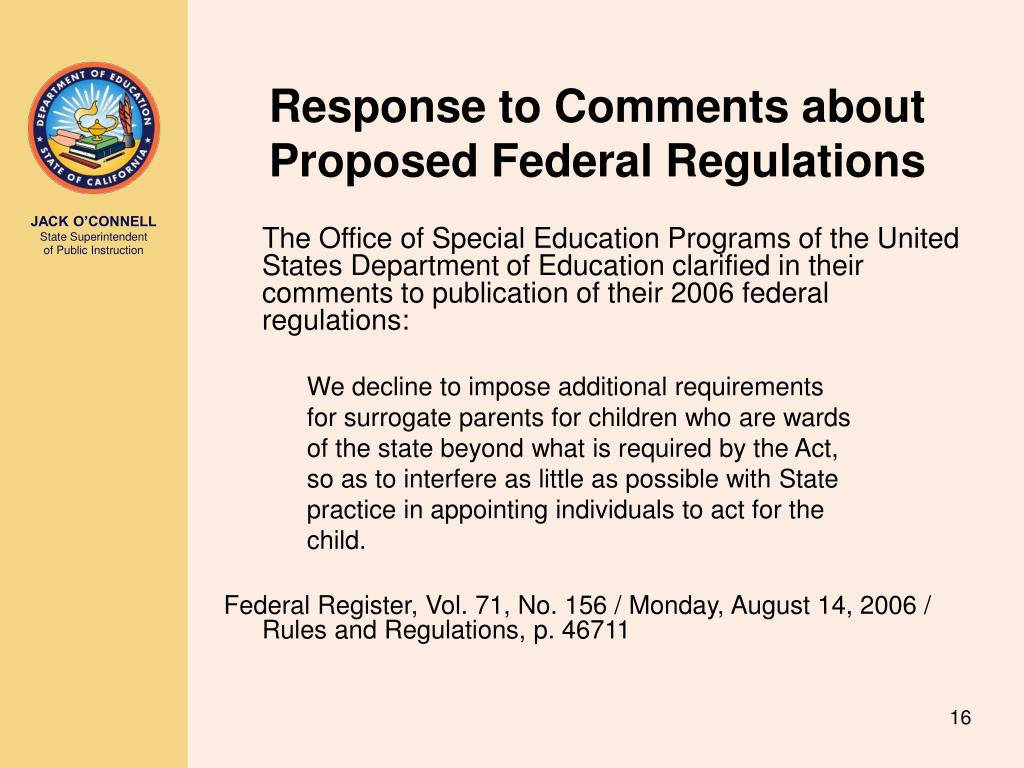 Response to Comments about Proposed Federal Regulations