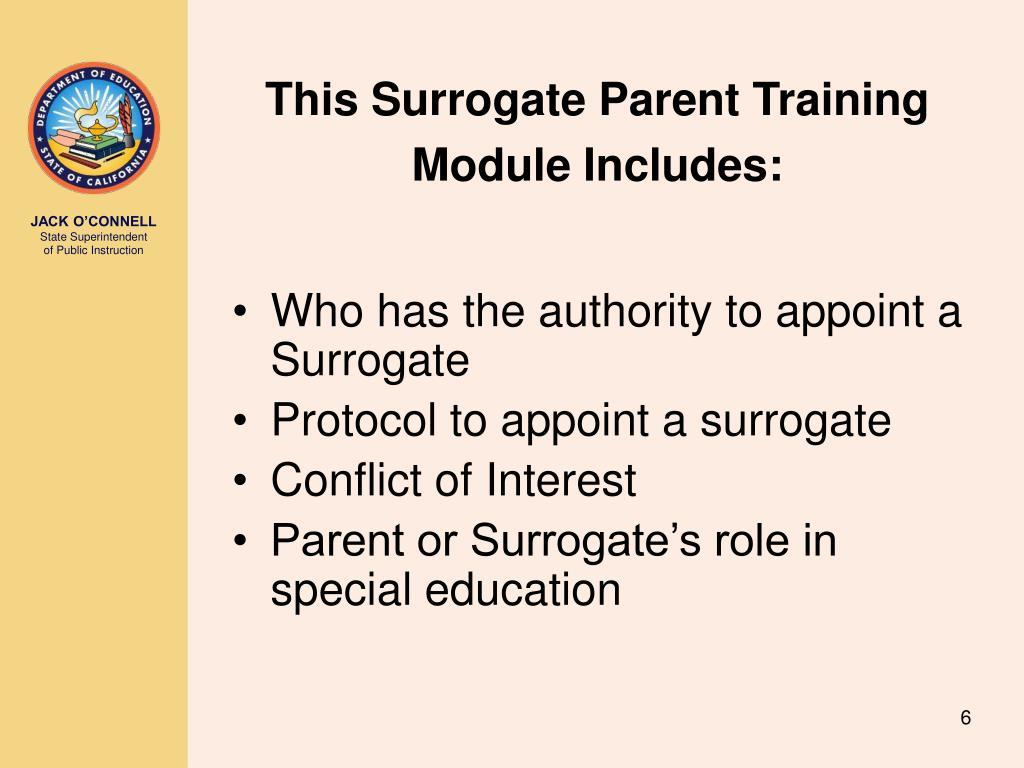 This Surrogate Parent Training Module Includes: