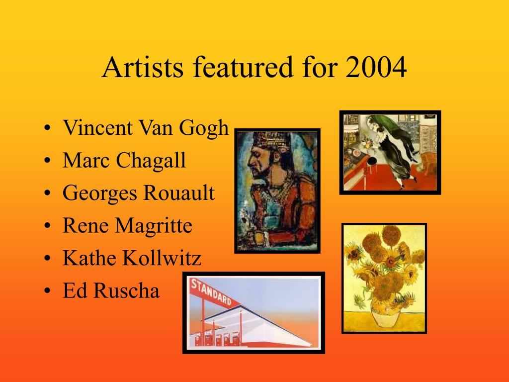 Artists featured for 2004