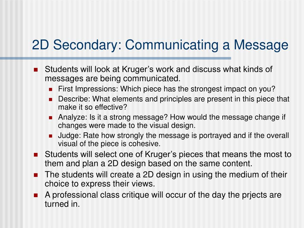 2D Secondary: Communicating a Message