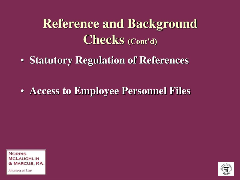 Reference and Background Checks