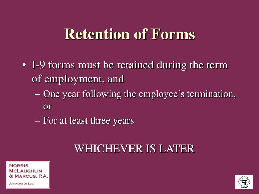 Retention of Forms