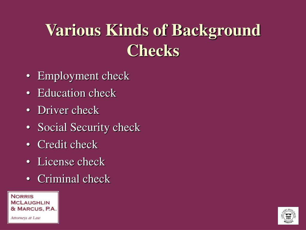 Various Kinds of Background Checks