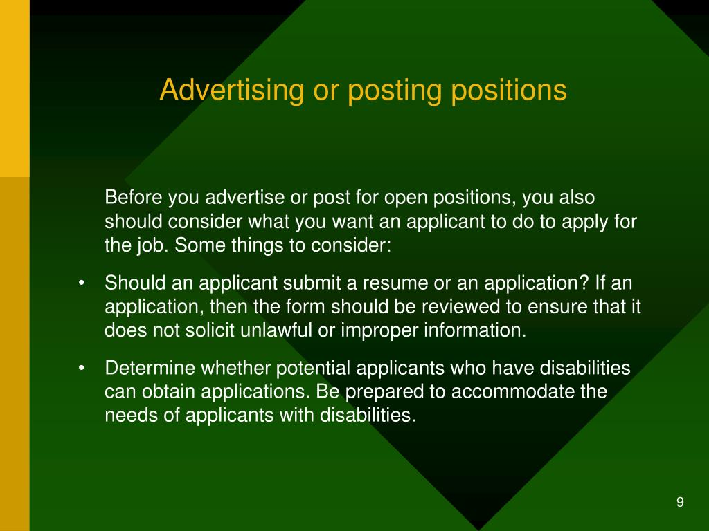Advertising or posting positions