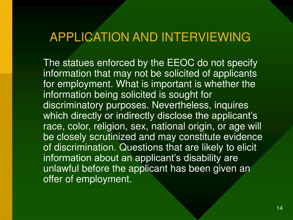 APPLICATION AND INTERVIEWING