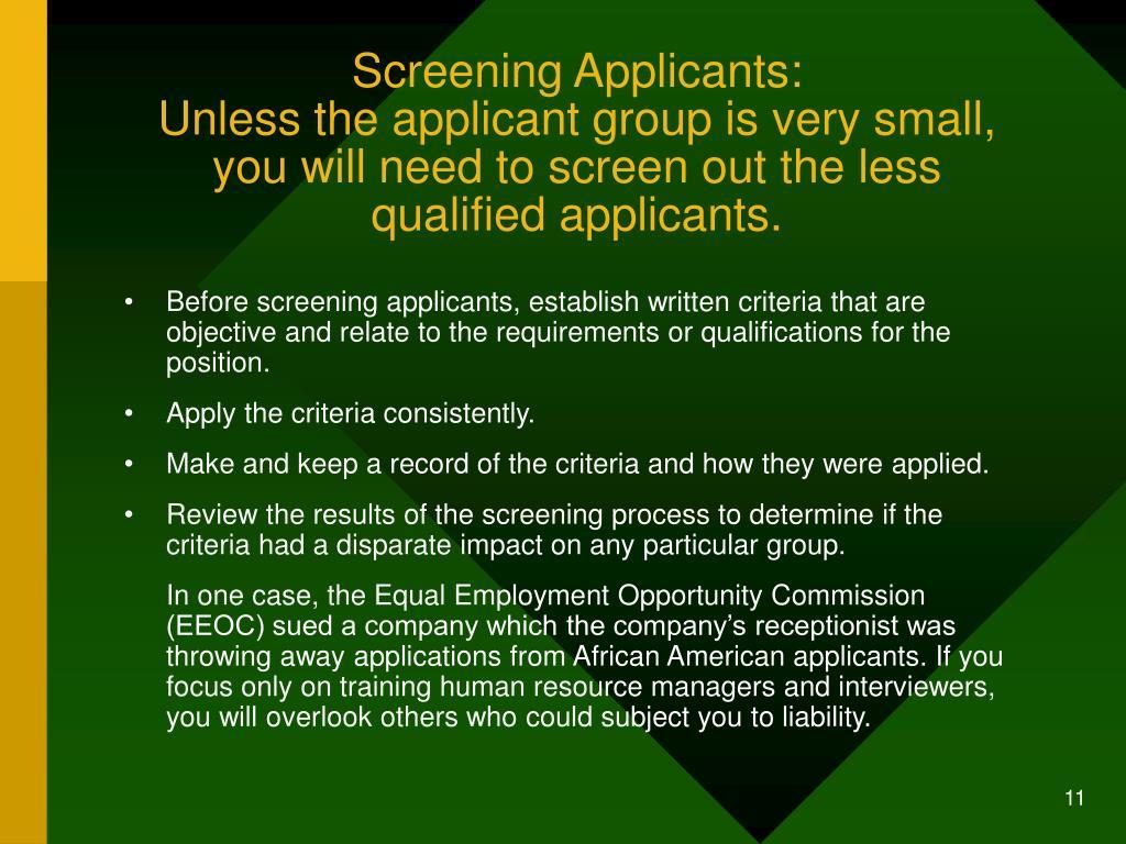 Screening Applicants: